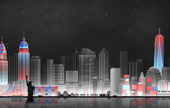 Картинка Небо, Минимализм, Ночь, Город, Art, New York, Digital, Illustration, New-York City, Game Art, by Caio ...