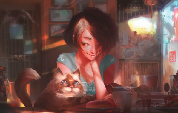 Картинка girl, food, cat, art, mood, shop, painted, Paul Nong, artfulbeast