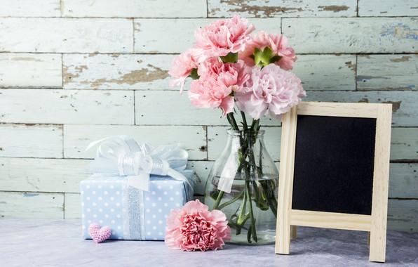 Фото обои цветы, подарок, сердечки, love, розовые, pink, flowers, beautiful, romantic, hearts, gift, гвоздики, carnation