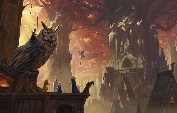 Картинка sword, fantasy, forest, armor, weapons, digital art, knights, buildings, artwork, concept art, owl, fantasy art, …