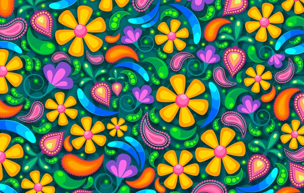 Картинка цветы, фон, узоры, графика, текстура, digital art