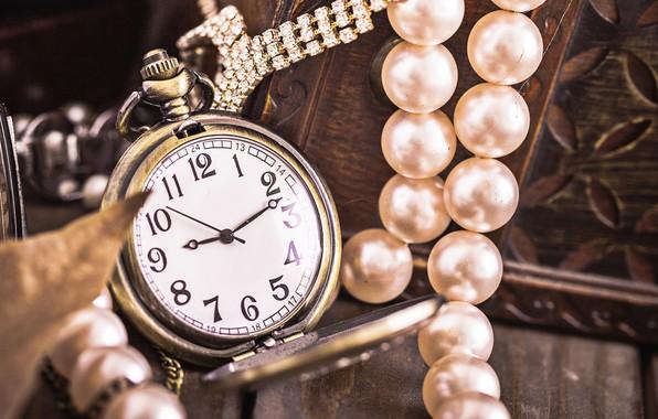 Картинка украшения, время, часы, жемчуг, циферблат, карманные часы, резная шкатулка