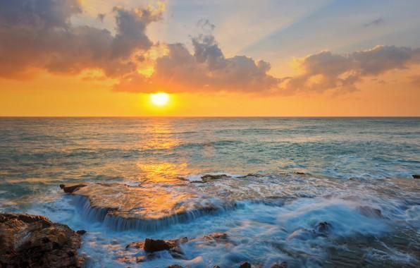 Картинка море, волны, пляж, лето, небо, закат, камни, берег, summer, beach, sky, sea, sunset, seascape, beautiful, …
