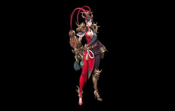 Картинка Girl, Fantasy, Art, Style, Warrior, Magic, Minimalism, Fighter, Han woo