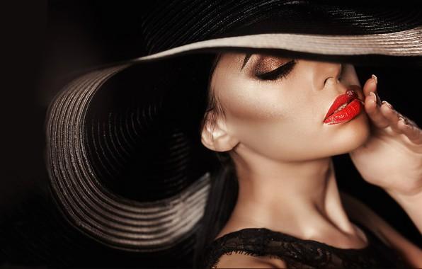 Картинка макияж, шикарная, в шляпке, красивое лицо, модница, очаровательная женщина