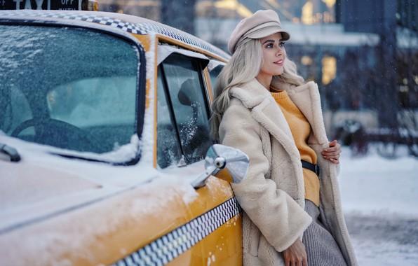 Картинка зима, машина, взгляд, девушка, снег, улыбка, блондинка, такси, Ольга, Сергей Чурносов