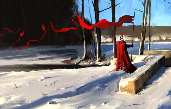 Картинка Зима, Снег, Воин, Рыцарь, Concept Art, Characters, Dominik Mayer, Environments, Знамя, by Dominik Mayer, 30 ...