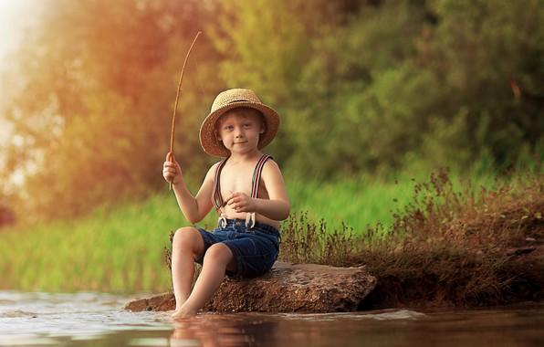 Картинка лето, природа, река, камень, рыбалка, рыбак, мальчик, ребёнок, Екатерина Борисова
