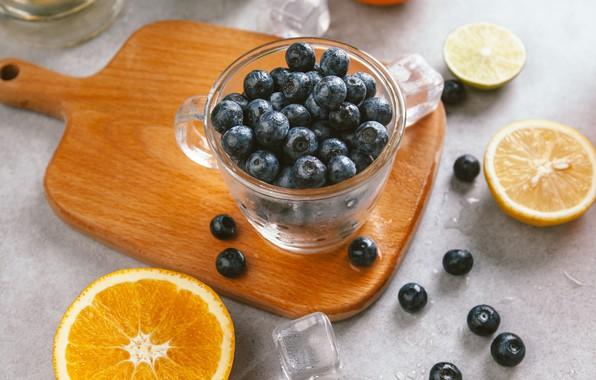 Картинка ягоды, апельсин, лёд, черника, чашка, лайм, ice, фрукты, цитрусы, ломтики, cup, fruit, orange, lime, citrus, …