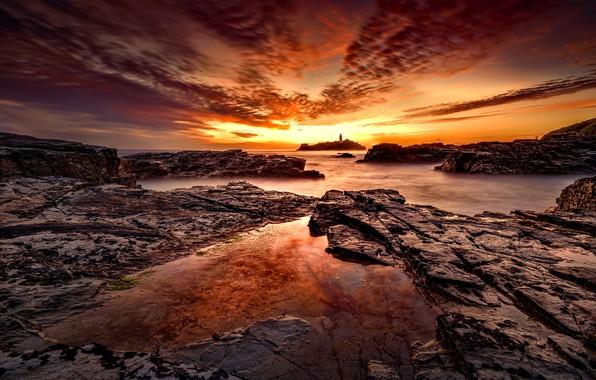 Картинка закат, побережье, маяк