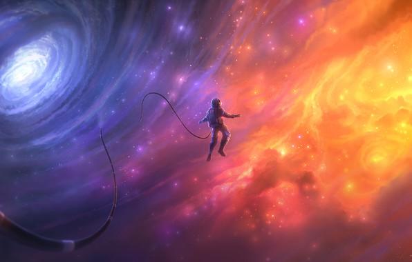 Картинка космос, космонавт, галактика, space, emancipated, раскрепощенный, освобожденный, liberated