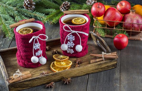 Картинка снег, украшения, яблоки, Новый Год, Рождество, Christmas, snow, cup, New Year, tea, cookies, apples, decoration, …
