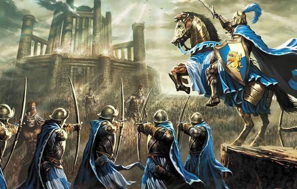 Картинка sword, fantasy, game, armor, war, army, horse, castle, digital art, artwork, shield, warrior, fantasy art, …