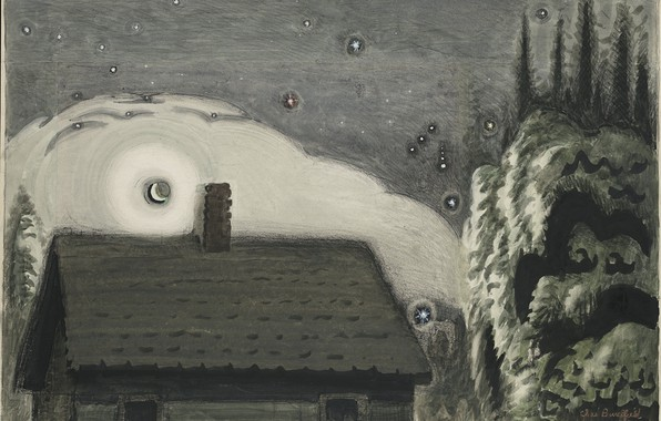 Картинка 1917, Charles Ephraim Burchfield, Orion and the Moon