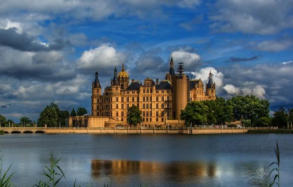 Картинка река, замок, Германия, Шверин