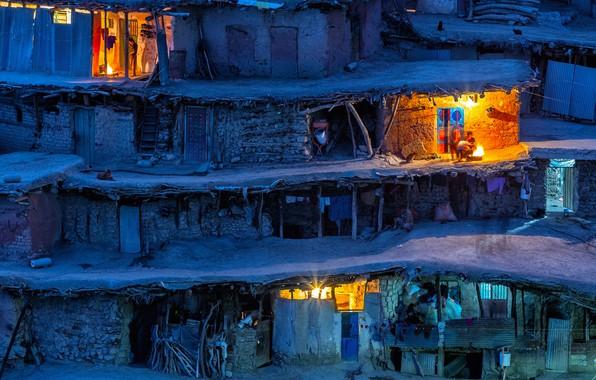 Картинка свет, ночь, дети, огни, люди, вечер, деревня, домики, Иран, Sar Aqa Seyyed, сельский округ Miankuh-e …