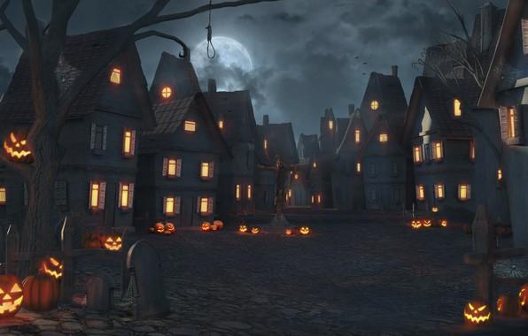 Картинка lights, dark, Halloween, moon, fantasy, sky, trees, square, night, clouds, houses, dusk, night sky, village, …
