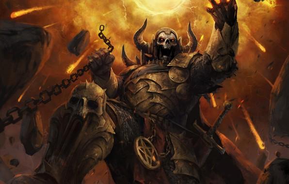 Картинка череп, доспехи, демон, фэнтези, арт, цепь, рога, demon, art