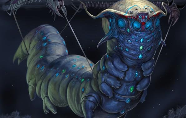 Картинка гусеница, темный фон, существо, fantasy art, creature, dark background, caterpillar, фэнтези арт, инопланетное создание, alien …