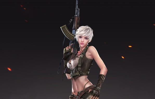 Фото обои взгляд, девушка, поза, оружие, фон, арт, блондинка