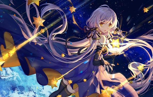 Картинка Girl, long hair, dress, anime, stars, artwork, yellow eyes, purple hair, anime girl