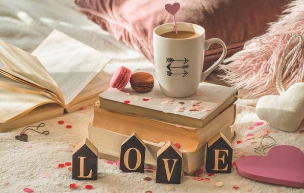 Картинка уют, книги, кофе, печенье, чашка
