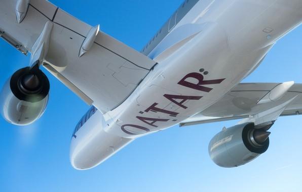 Картинка Двигатель, Airbus, Qatar Airways, Крыло, Airbus A350-900, Пассажирский самолёт, Airbus A350 XWB