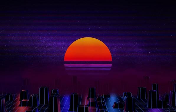 Картинка Солнце, Музыка, Звезда, Фон, 80s, Neon, 80's, Synth, Retrowave, Synthwave, New Retro Wave, Futuresynth, Синтвейв, ...