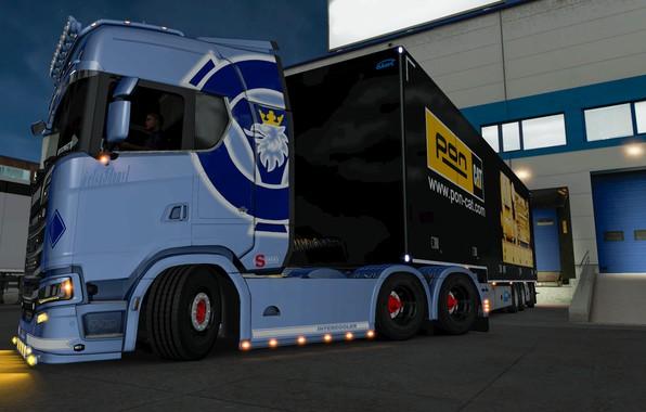 Картинка Power, Truck, low, Scania, Trailer, Highline, 6x4, CAT, SUPER, EuroTruckSimulator, elsa3dany1, ERTY, ETS, S-U-P-E-R, ERTY-FTW, …