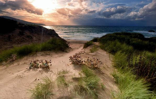 Картинка песок, море, пейзаж, природа, берег, побережье, красота