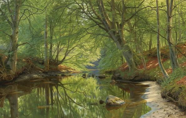 Картинка 1896, датский живописец, Лесной ручей, Петер Мёрк Мёнстед, Peder Mørk Mønsted, Danish realist painter, Forest …
