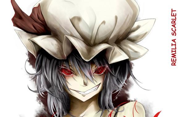 Картинка красные глаза, remilia scarlet, art, вампирша, адская ухмылка, физиономия, проект Восток, чепец, touhou project, Ase …