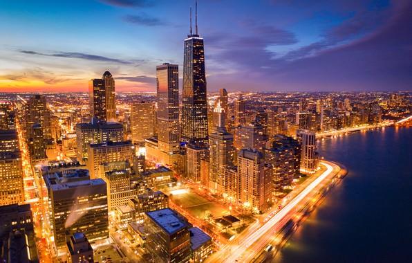 Картинка озеро, здания, дома, Чикаго, Иллинойс, ночной город, Chicago, Illinois, небоскрёбы, Lake Michigan, Озеро Мичиган