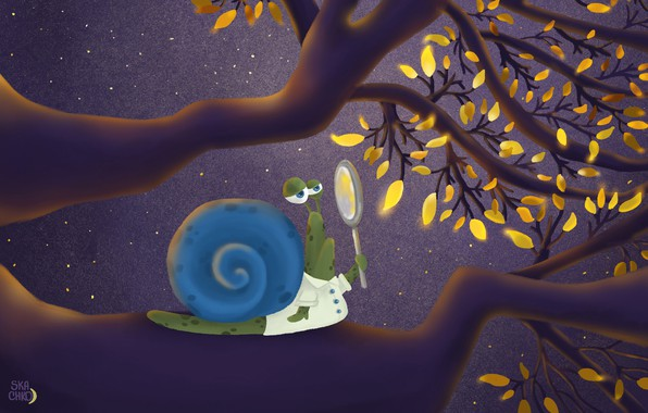 Картинка animals, yellow, art, leaves, painting, funny, digital art, branches, illustration, magnifier, snail, magnifying glass, 4k …