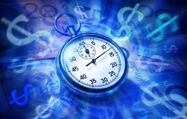 Картинка крупный план, синева, фон, часы, деньги, доллары, циферблат, купюры, карманные часы
