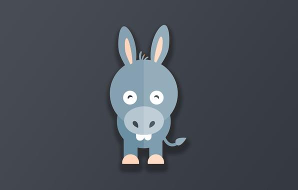 Картинка minimalism, animal, funny, digital art, artwork, cute, simple background, Donkey