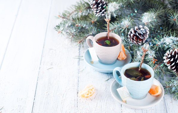Картинка украшения, Новый Год, Рождество, Christmas, wood, winter, snow, cup, New Year, tea, decoration, Merry, fir …