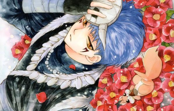 Картинка ожерелье, маска, парень, голубые волосы, art, желтые глаза, бельчонок, на земле, Рассвет Йоны, Akatsuki no …
