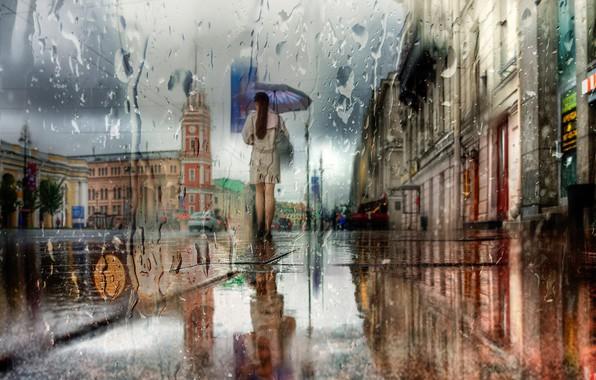 Картинка девушка, город, дом, отражение, улица, здание, Дождь