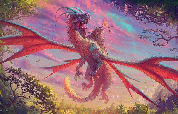 Картинка colorful, moon, fantasy, horns, trees, weapon, nature, wings, planet, dragon, artist, digital art, artwork, warrior, …