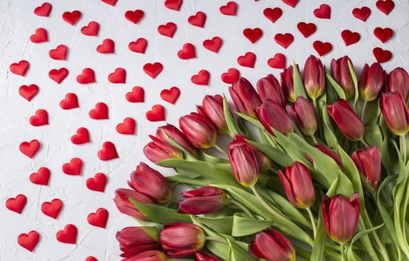 Картинка любовь, букет, сердечки, тюльпаны, красные, red, love, wood, flowers, romantic, hearts, tulips, valentine's day