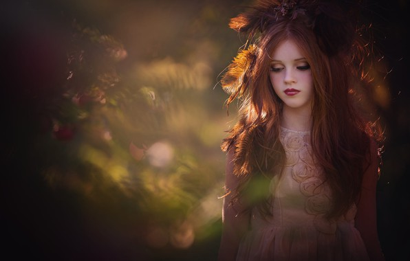 Картинка перья, макияж, платье, девочка, рыжая, боке, подросток, Amber Bauerle