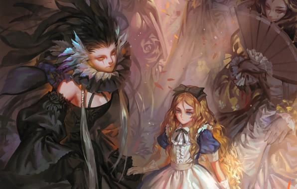 Картинка дамы, веер, декольте, перчатки, черное платье, бант, рыжеволосая, длинные волосы, art, Alice, alice in wonderland, …