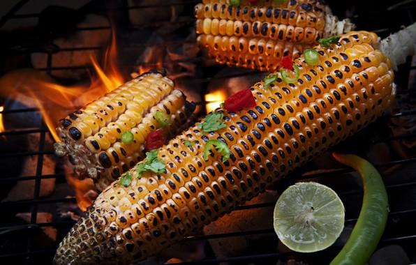 Картинка кукуруза, лайм, перец, гриль