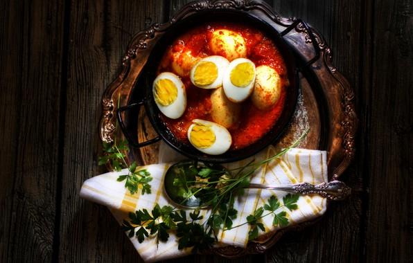 Картинка темный фон, еда, яйца, блюдо, в томате