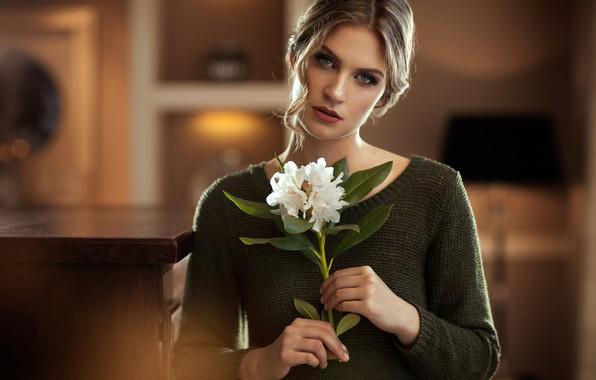 Картинка цветок, взгляд, поза, модель, портрет, макияж, прическа, красотка, кофта, боке, русая, Maarten Quaadvliet, Mirthe