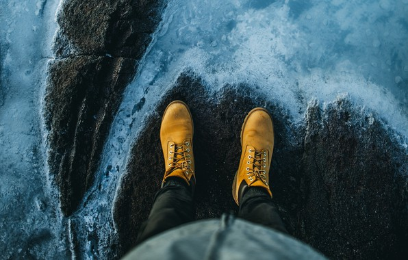 Картинка wallpaper, legs, water, stones, shore, situations, height, boots, background 4k ultra hd