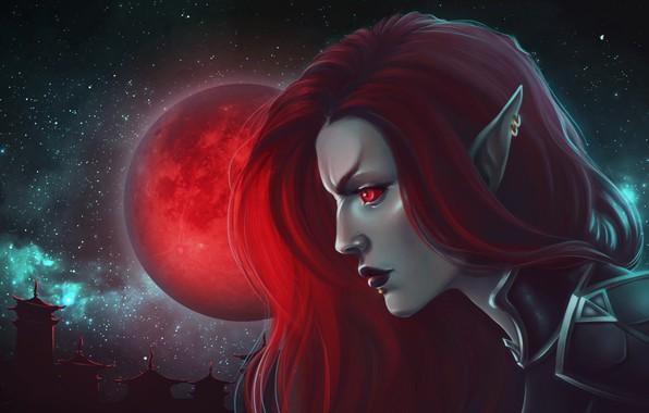 Картинка девушка, луна, вампир