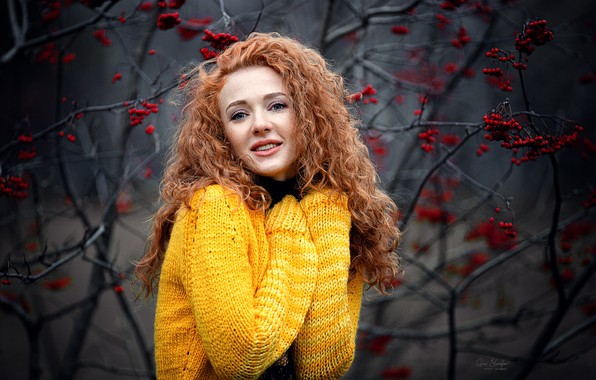 Картинка осень, улыбка, Девушка, рыжая, Катя, рябина, Анна Шувалова