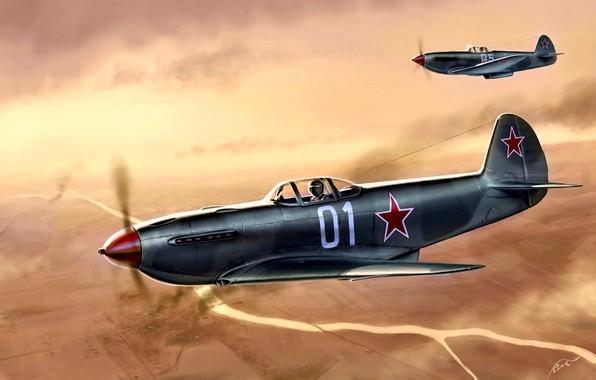 Картинка Река, истребитель, пара, фронтовой, советский, лёгкий, Як-3, времён Второй мировой войны, завоевания господства в воздухе